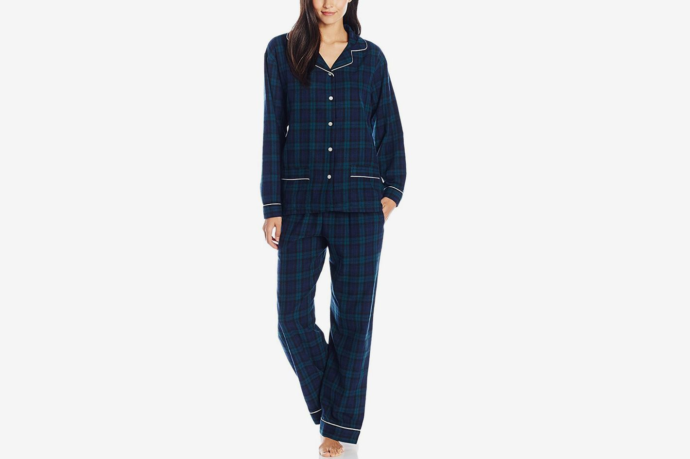 Lanz Women's Cotton Flannel Notch Collar Pajama Set