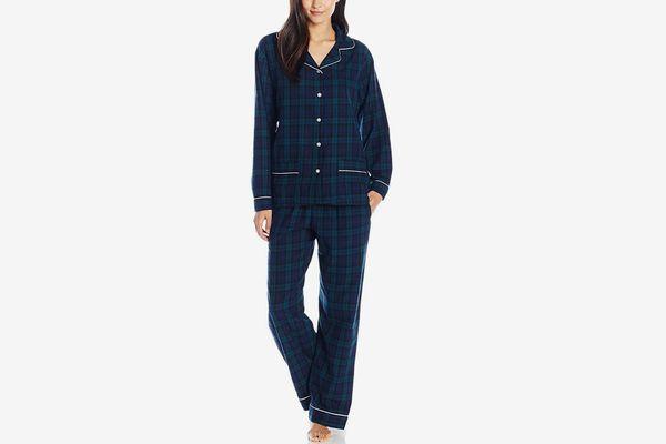 Lanz Women's Cotton Flannel Notch Collar Pajama Set