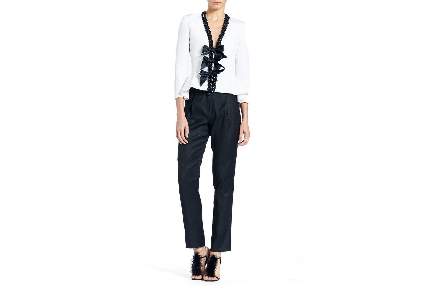 Carolina Herrera Embellished Peplum Jacket