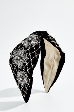 NAMJOSH Black Velvet Embellished Headband