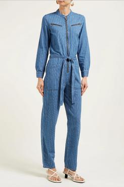 womens mih jeans pinstriped denim jumpsuit - strategist fashion summer sale
