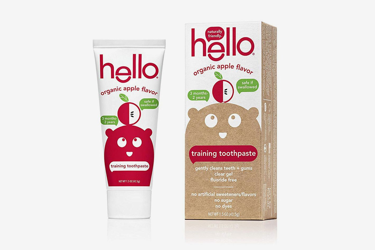 Hello Oral Care Fluoride Free Toddler Training Toothpaste, Organic Apple