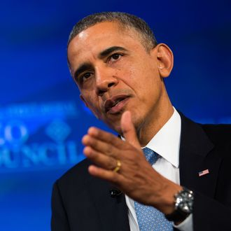 WASHINGTON, DC - NOVEMBER 19: U.S. President Barack Obama responds to questions from Wall Street Journal Washington Bureau Chief Gerald Seib at the Wall Street Journal CEO Council annual meeting at the Four Seasons Hotel on November 19, 2013 in Washington, DC. Obama discussed immigration reform and the health care rollout, among other topics. (Photo by Drew Angerer-Pool/Getty Images)