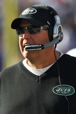 ORCHARD PARK, NY - NOVEMBER 6: Head coach Rex Ryan of the New York Jets looks on from the sideline during NFL game action against the Buffalo Bills at Ralph Wilson Stadium on November 6, 2011 in Orchard Park, New York. (Photo by Tom Szczerbowski/Getty Images)