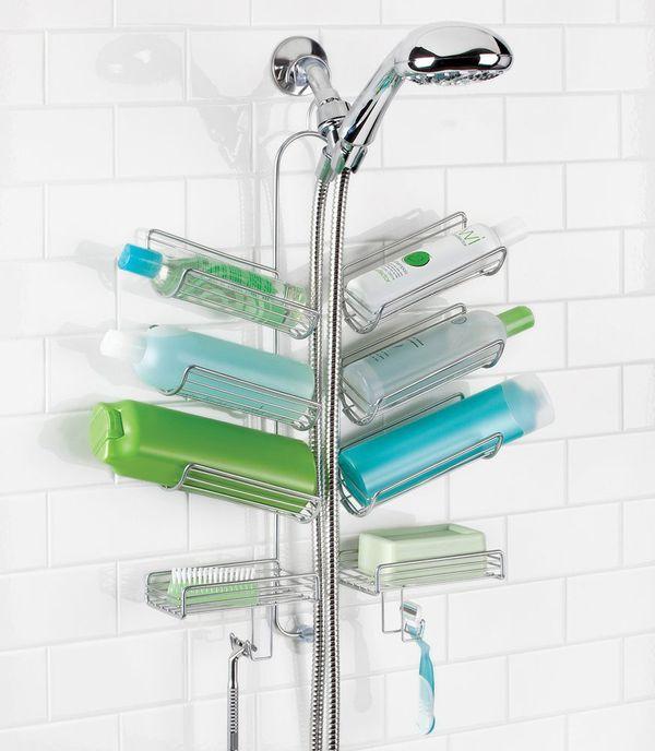 mDesign Bathroom Hose Shower Caddy for Shampoo, Conditioner, Soap — Silver