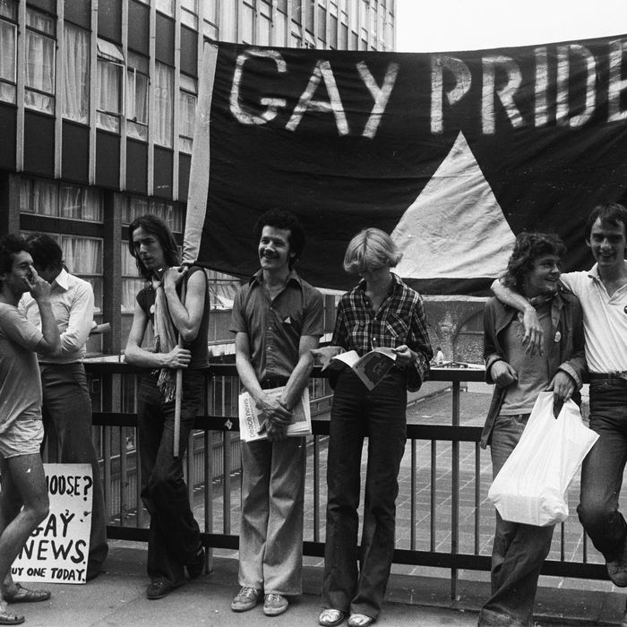 Members of the Gay Liberation Movement protesting outside the Old Bailey over Mary Whitehouse's court action against the Gay News Magazine.