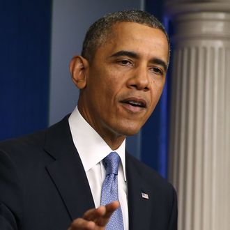 WASHINGTON, DC - SEPTEMBER 30: U.S. President Barack Obama speaks to the media about the possibility of a government shut down in Brady Press Briefing Room at the White House September 30, 2013 in Washington, DC. If House Republicans do not find common ground with President Obama and Senate Democrats on the federal budget then at midnight large sections of the government will close, hundreds of thousands of workers would be furloughed without pay, and millions more would be asked to work for no pay. (Photo by Mark Wilson/Getty Images)