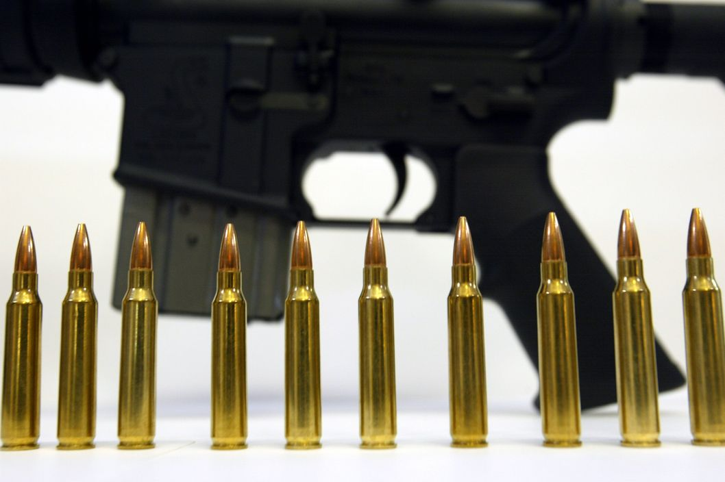Several .223 caliber rounds are shown near a Bushmaster XM-15 October 25, 2002 in Hollywood, Florida. They are similar to the ones that were being used by the sniper during a killing spree near Washington, D.C. Famous for its use in the military's M-16 rifle, the .223-caliber round is known for causing extensive tissue damage.