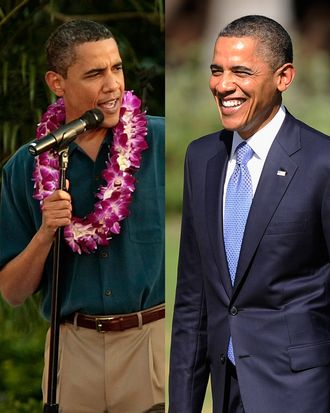 Barack displaying a sense of fun in 2009 while hosting a l'uau at the White House; at the APEC summit last weekend.