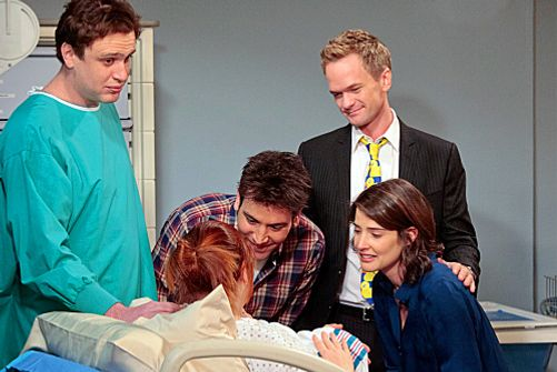 """The Magician\'s Code Part One"" -- The gang rallies around Lily (Alyson Hannigan) to look at her new born baby. (L-R) Marshall (Jason Segel), Ted (Josh Radnor), Barney (Neil Patrick Harris) and Robin (Cobie Smulders), on HOW I MET YOUR MOTHER, Monda"