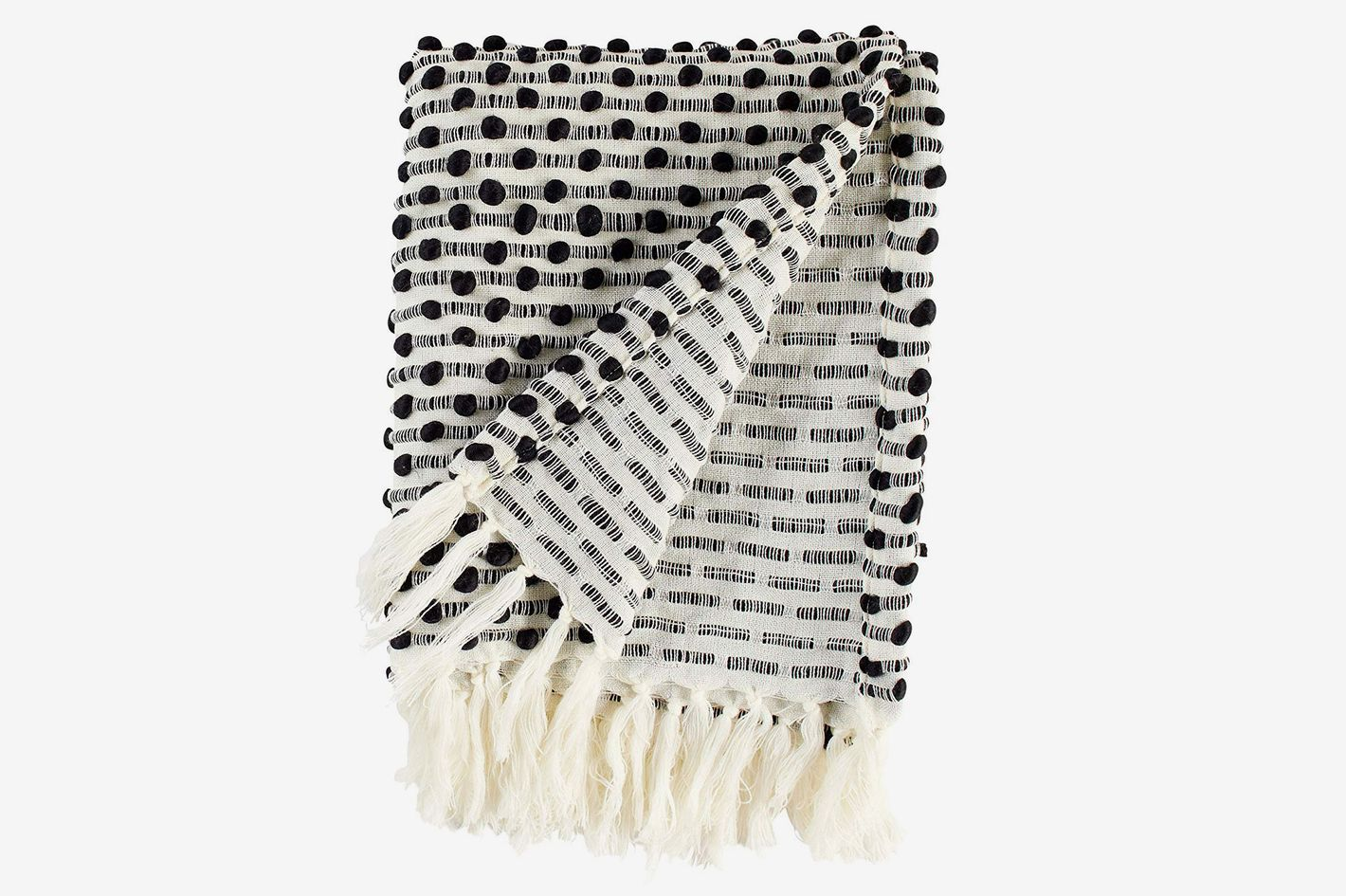 Rivet Bubble Textured Lightweight Decorative Fringe Throw Blanket