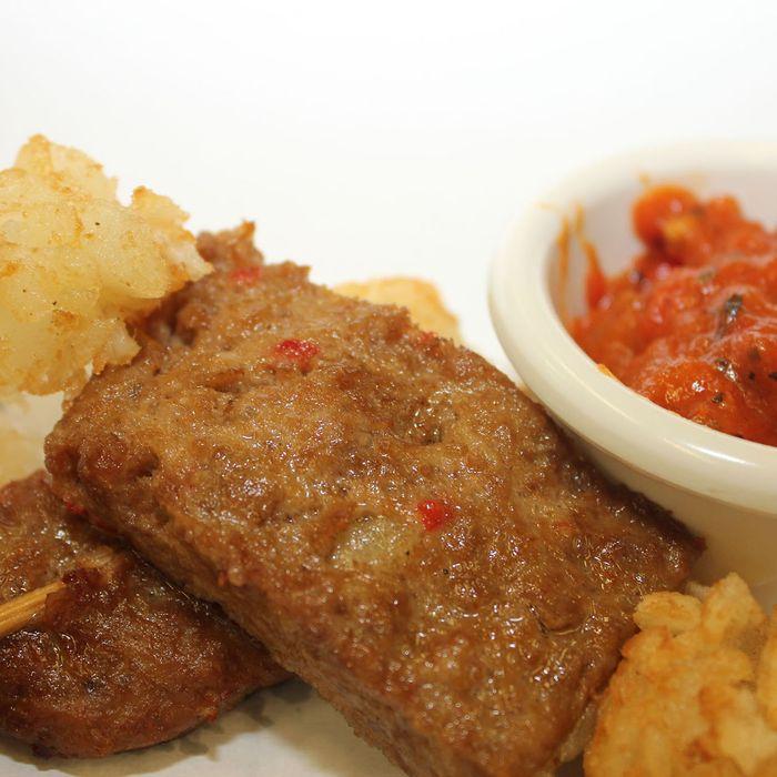 Deep-fried meatloaf, made classy with a wine glaze.