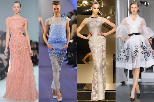 Karlie Kloss at Elie Saab, Chanel, Versace Atelier, and Dior Spring/Summer 2012 Haute-Couture fashion shows in Paris.