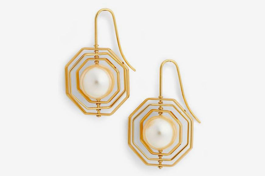 TORY BURCH Geo Imitation Pearl Earrings