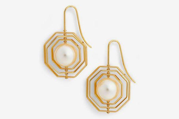 TORY BURCH Geo Imitation Pearl Earrings
