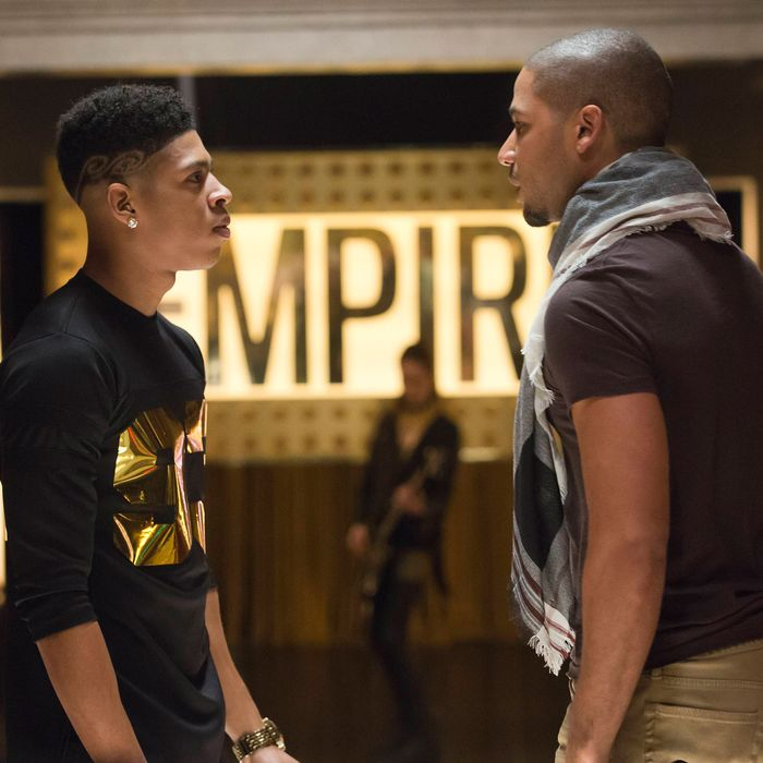 EMPIRE: Tension mounts between Hakeem (Bryshere Gray, L) and Jamal (Jussie Smollett, R) in the