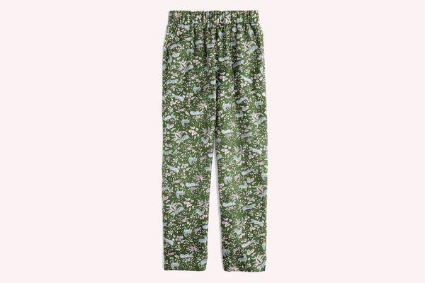 J.Crew Pull-On Print Silk Twill Easy Pants