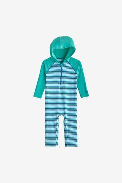 Coolibar UPF 50+ Baby Finn Hooded One-Piece Swimsuit