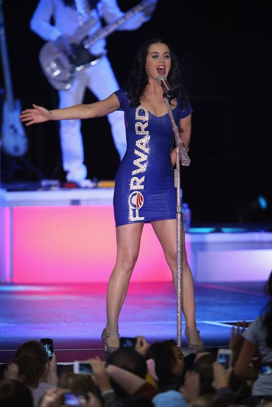 Pop artist Katy Perry performs at a campaign rally for President Barack Obama at the Delta Center on November 3, 2012 in Milwaukee, Wisconsin. Wisconsin is one of nine battleground states expected to determine the outcome of Tuesday's presidential election.