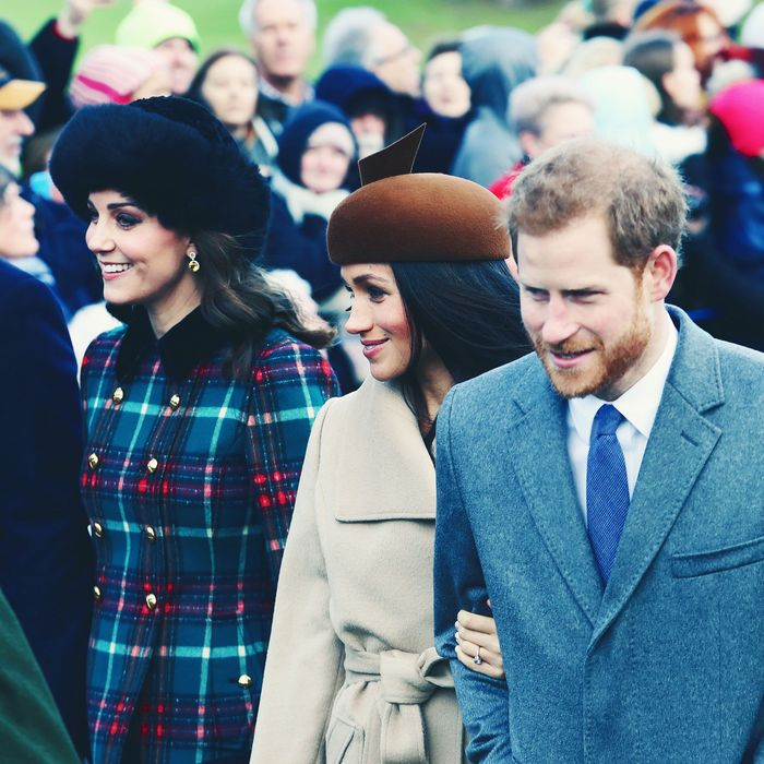 Prince William, Kate Middleton, Meghan Markle, and Prince Harry at Sandringham on Christmas.