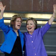 Elizabeth Warren Campaigns With Hillary Clinton In Cincinnati
