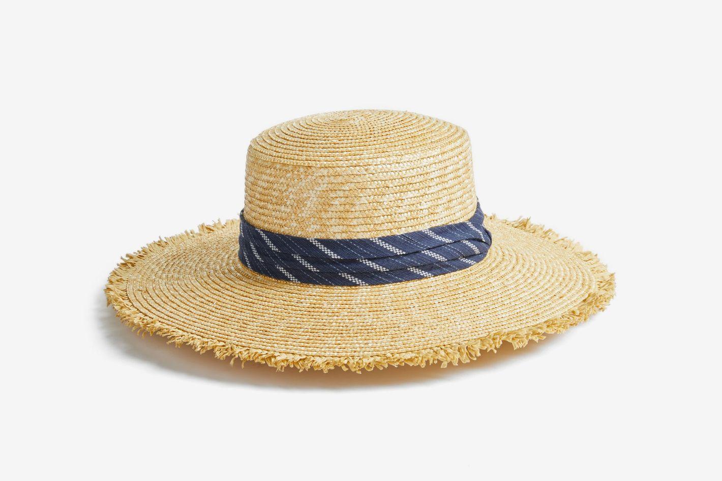 BCBG Max Azria Denim Banded Straw Boater Hat 6bf0a3b9560