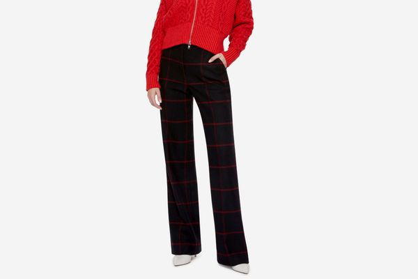 Self Portrait High-Rise Check Trousers