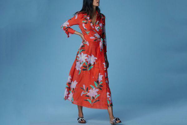 Diane von Furstenberg Collared Wrap Dress Cover-Up, Argos Clementine