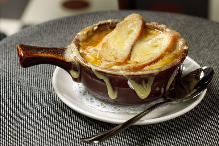 French-onion soup with Gruyère croutons.