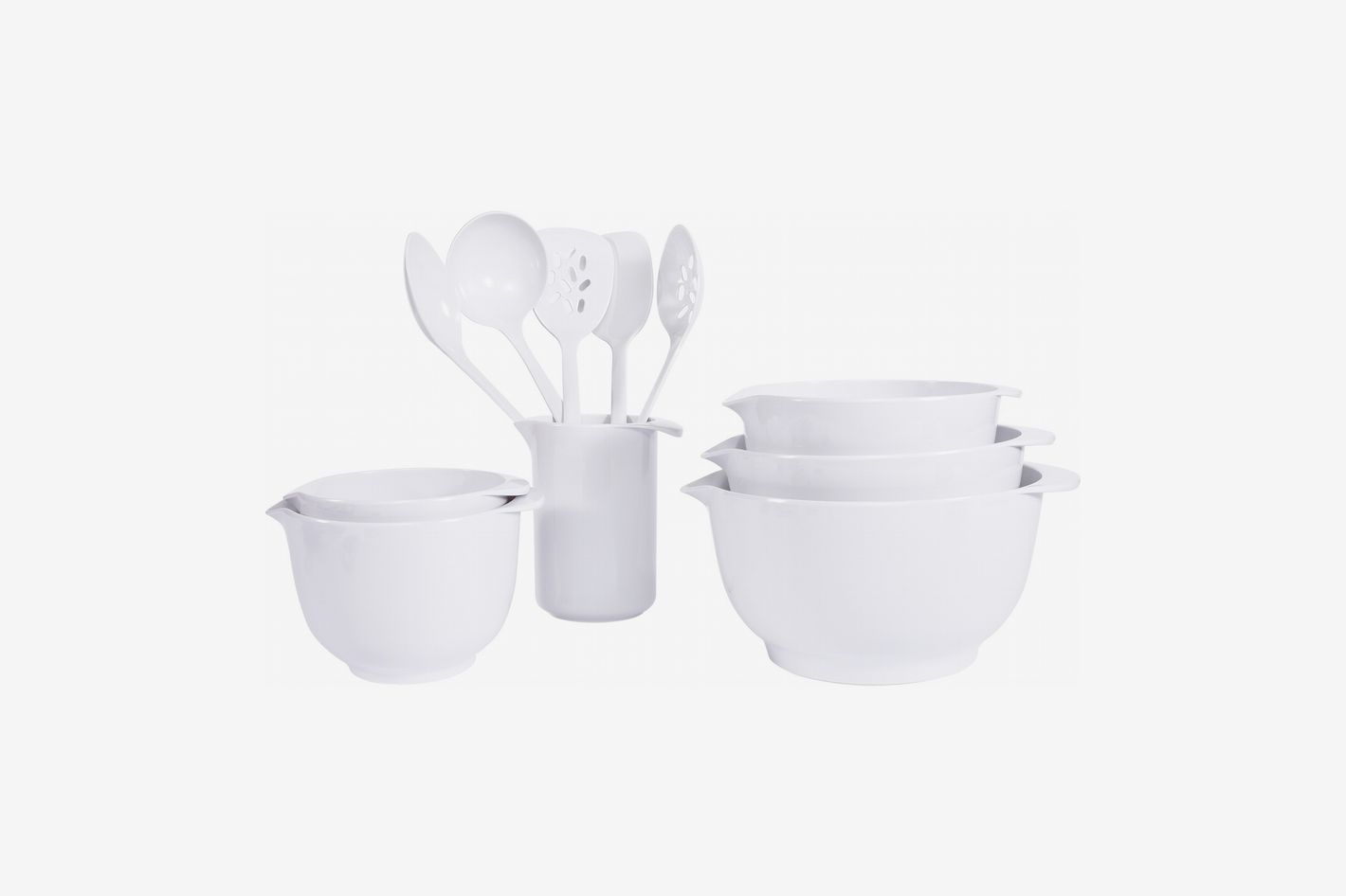 Mainstays 11PC Melamine Mixing Bowl and Utensil Set- White