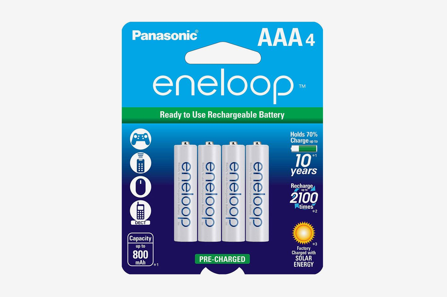 Panasonic Eneloop AAA Pre-Charged Rechargeable Batteries (4-Pack)