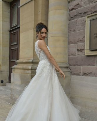 Meghan Markle in a wedding dress on Suits, not in real life.
