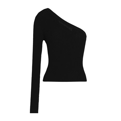 Autumn Cashmere One-shoulder ribbed-knit top