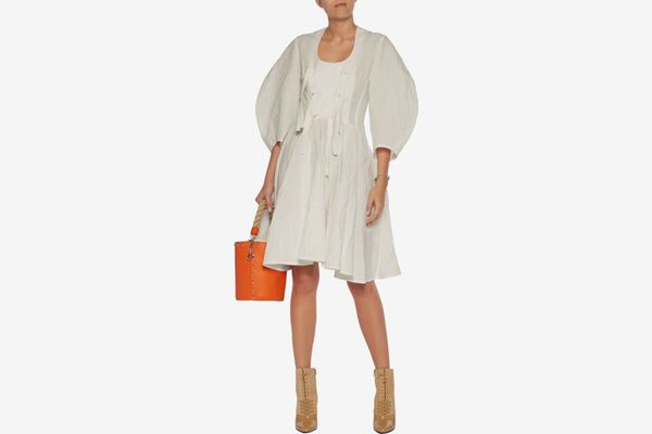 J.W. Anderson Knotted cotton and linen-blend mini dress