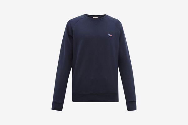 Maison Kitsuné Tricolor Fox-appliqué Cotton Sweatshirt