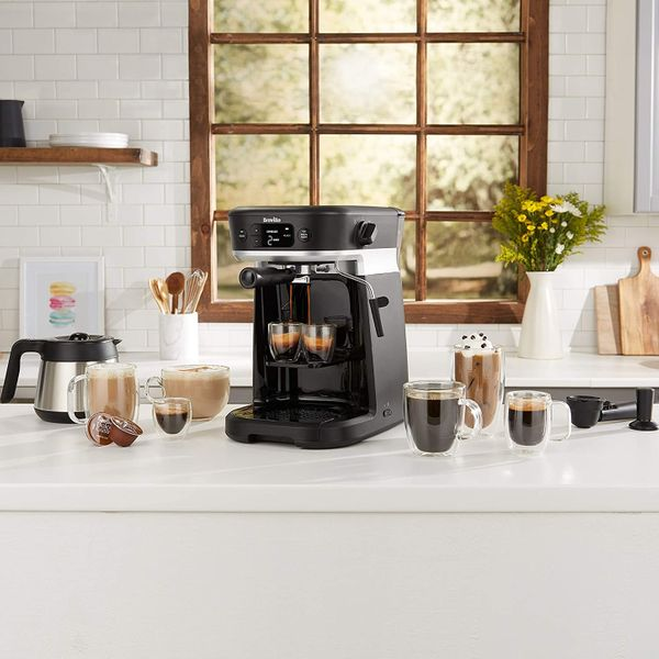 Breville All-in-One Espresso, Filter and Pods Coffee Machine with Milk Frother