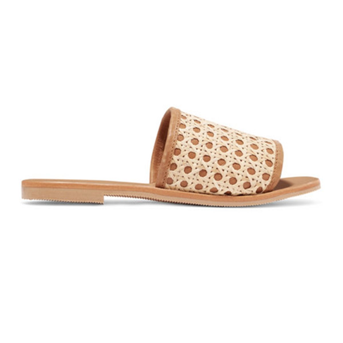 Henni leather and rattan slides