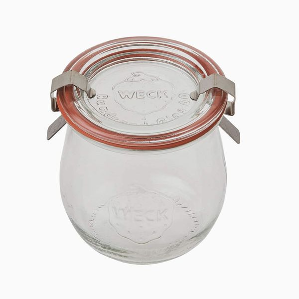 Weck 6 Mini Tulip Jelly Jar With Glass Lids 6 Rings and 12 Clamps