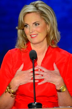 Ann Romney, wife of Republican presidential nominee Mitt Romney, speaks to the delegates at the second day of the Republican National Convention in Tampa, Florida, Tuesday, August 28, 2012.