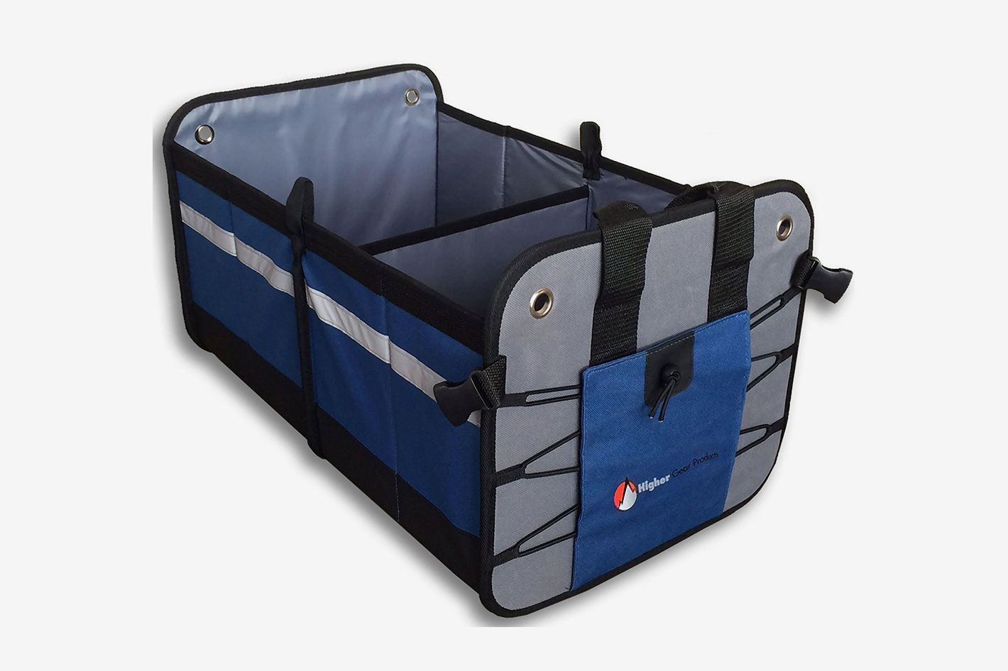 Higher Gear Products Car Trunk Organizer | 2 Interior Compartments + Mesh Pocket, Rigid Fold Down Bottom, No Slip Feet