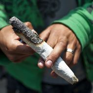 A man lights marijuana during a demo in support of the legalization of marijuana, in Mexico City, on May 7, 2011.