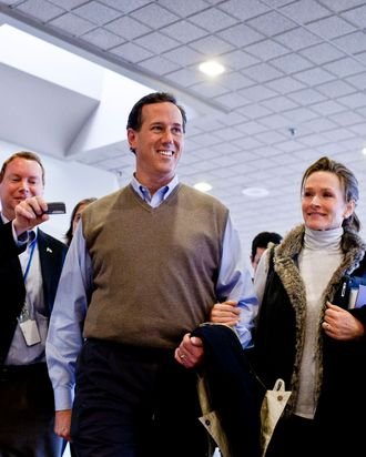 Republican presidential candidate, former U.S. Sen. Rick Santorum, and his wife Karen Santorum, make the rounds on Radio Row during the nation's first primary on January 10, 2012 in Manchester, N.H.