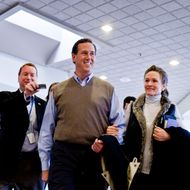 MANCHESTER, NH - JANUARY 10: Republican presidential candidate, former U.S. Sen. Rick Santorum,  and his wife Karen Santorum,  make the rounds on Radio Row during the nation's first primary on January 10, 2012 in Manchester, N.H. After a strong second place finish in the Iowa Caucus Santorum dropped in many polls leading up to the first-primary, and is expected to be vying with Newt Gingrich for fourth place.  (Photo by T.J. Kirkpatrick/Getty Images)