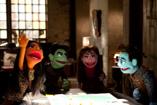 "GLEE: L-R: ""Santana"", ""Elliot"", ""Rachel"" and "" Kurt""perform in the ""Puppet Master"" episode of GLEE airing Thursday, Nov. 28 (9:00-10:00 PM ET/PT) on FOX. ?2013 Fox Broadcasting Co. CR: Adam Rose/FOX"