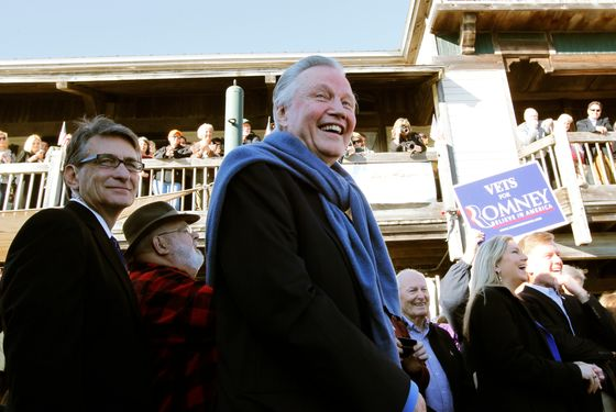 Actor Jon Voight campaigns with Republican presidential candidate, former Massachusetts Gov. Mitt Romney, not pictured, at the Fish House in Pensacola, Fla., Saturday, Jan. 28, 2012. (AP Photo/Charles Dharapak)
