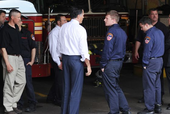 Presidential candidate, Mitt Romney and former NYC mayor Rudy Giuliani bring pizza and meet with fire fighters in SoHo in lower Manhattan. <P> Pictured: Mitt Romney <P> <B>Ref: SPL388201  010512  </B><BR/> Picture by: A. Ariani / Splash News<BR/> </P><P> <B>Splash News and Pictures</B><BR/> Los Angeles:310-821-2666<BR/> New York:212-619-2666<BR/> London:870-934-2666<BR/> photodesk@splashnews.com<BR/> </P>