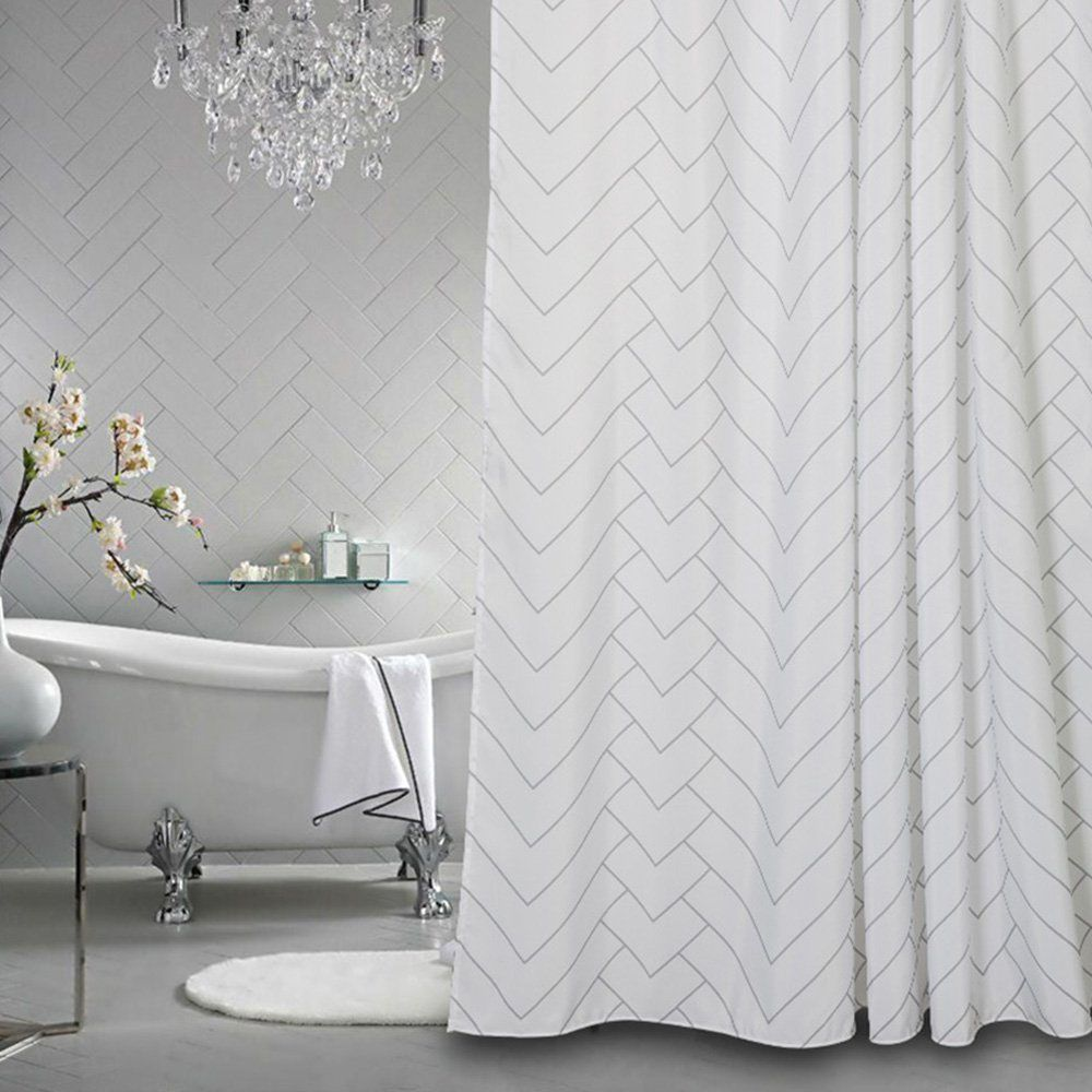 Aimjerry Hotel Quality White Striped Mold Resistant Fabric Shower Curtain