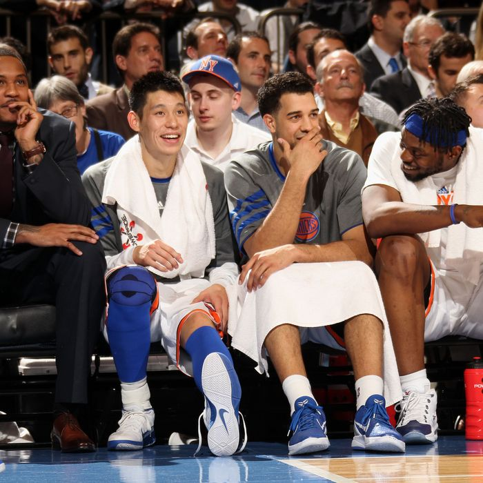 NEW YORK, NY - FEBRUARY 15: Carmelo Anthony #7, Jeremy Lin #17, Landry Fields #2, and Bill Walker #5 of the New York Knicks (L to R) sit on the bench during the game against the on February 15, 2012 at Madison Square Garden in New York City. NOTE TO USER: User expressly acknowledges and agrees that, by downloading and or using this photograph, User is consenting to the terms and conditions of the Getty Images License Agreement. Mandatory Copyright Notice: Copyright 2012 NBAE (Photo by Nathaniel S. Butler/NBAE via Getty Images)
