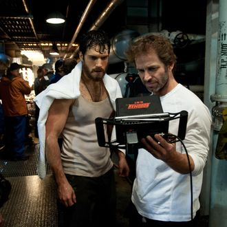 """(L-r) HENRY CAVILL and director ZACK SNYDER on the set of Warner Bros. Pictures' and Legendary Pictures' action adventure """"MAN OF STEEL,"""" a Warner Bros. Pictures release."""